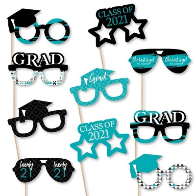 Big Dot of Happiness Teal Grad Glasses - Best is Yet to Come - Turquoise 2021 Paper Card Stock Graduation Party Photo Booth Props Kit - 10 Count