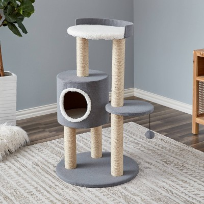 Two by Two Oak Cat Tower - Gray