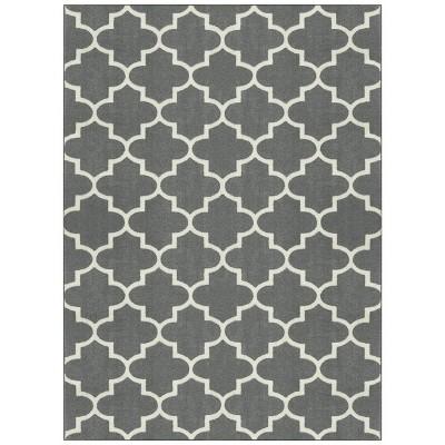 "4'X5'6"" Fretwork Design Area Rug Gray - Threshold™"