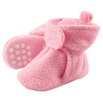 Luvable Friends Baby and Toddler Girl Cozy Fleece Booties, Light Pink