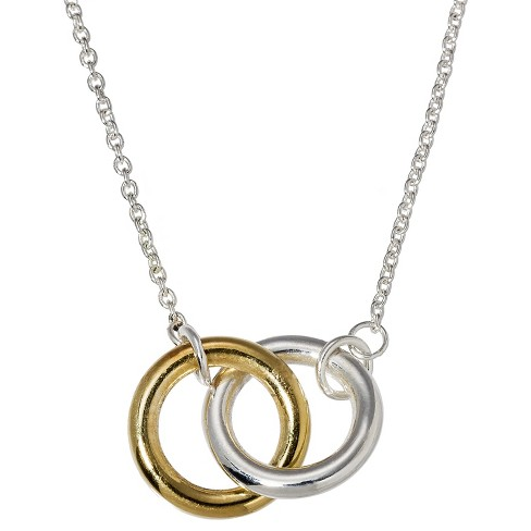 2 Bands Pendant Necklace - Silver - image 1 of 2