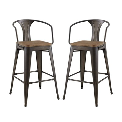 Set of 2 Promenade Barstool with Arms - Modway