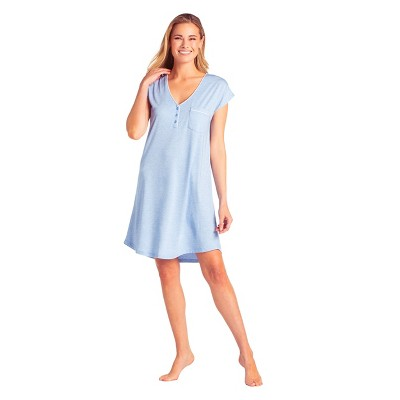 Softies Women's Cap Sleeve V-Neck Sleep Shirt with Contrast Piping