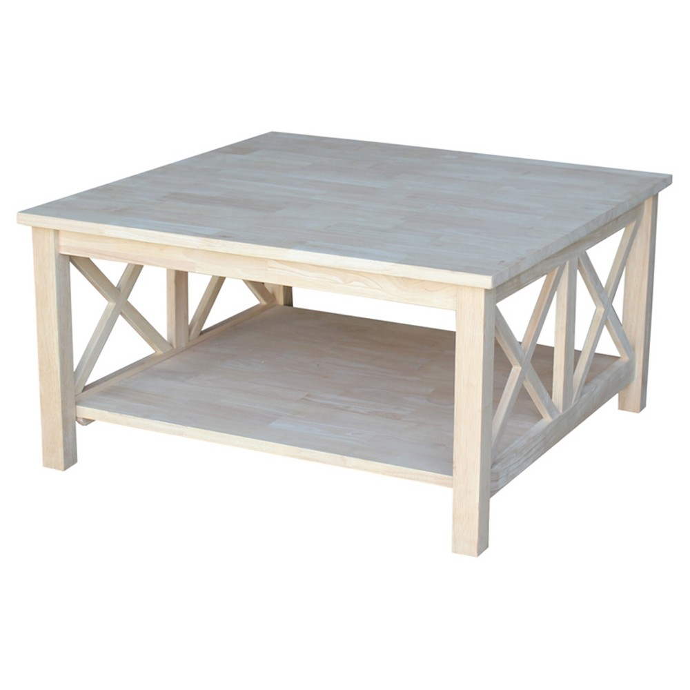 Hampton Square Coffee Table - Unfinished - International Concepts
