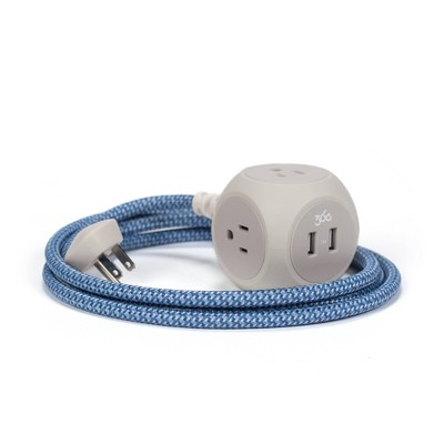 360 Electrical 6' Braided Extension Cord with Dual USB - Summer Twilight