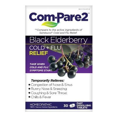 Com-Pare2 Cold + Flu Relief Fast Dissolve Tablets - Black Elderberry - 30ct