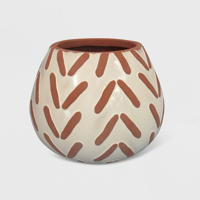 9  Textured Pattern Planter Terracotta - Opalhouse™