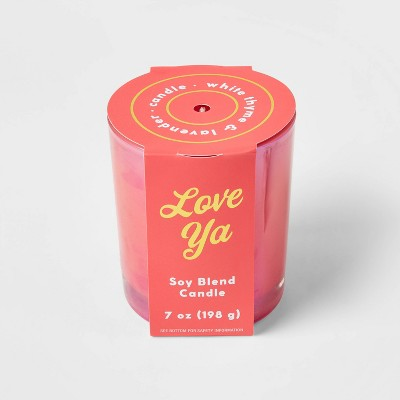 7oz Celebration Coral Hot Pink Glass with Iridescent Finish 'Love Ya' Candle - Opalhouse™