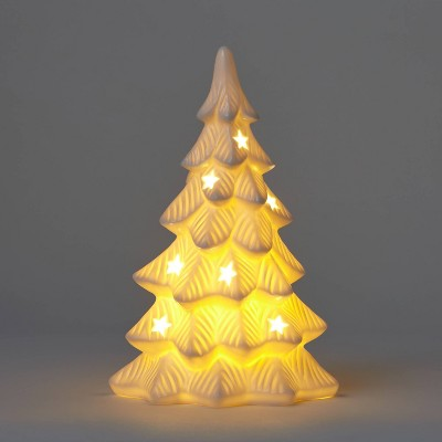 Lit Ceramic Christmas Tree Decorative Figurine White - Wondershop™