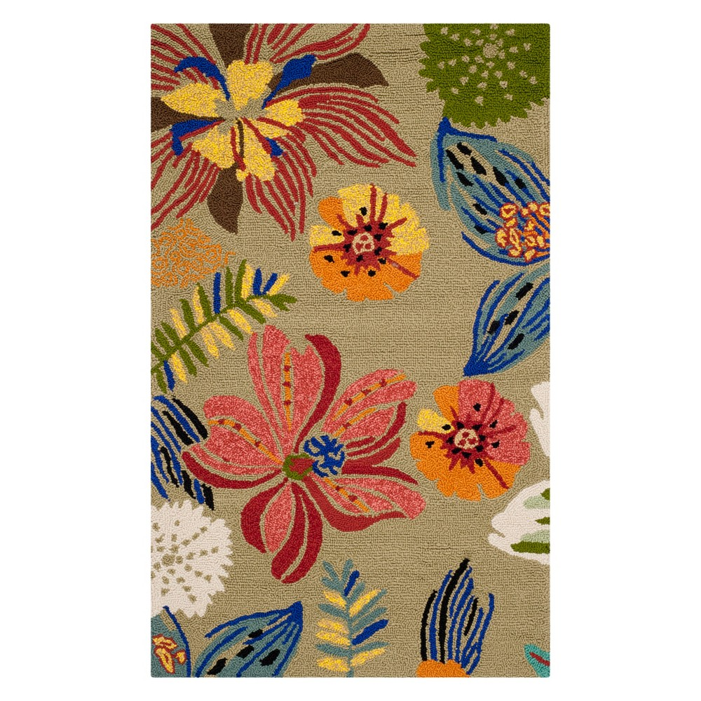 """Image of """"2'4X4'/28""""""""X48"""""""" Floral Accent Rug Light Olive/Green - Safavieh"""""""