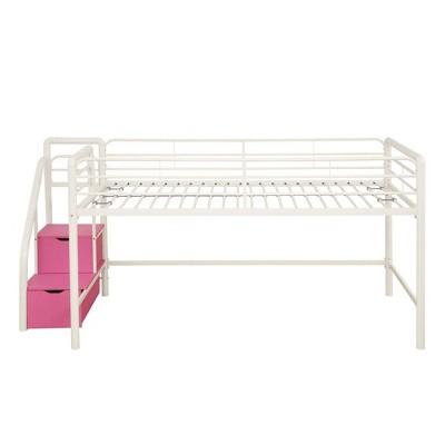 Twin Jamie Junior Loft bed with Storage Steps White/Pink - Room & Joy