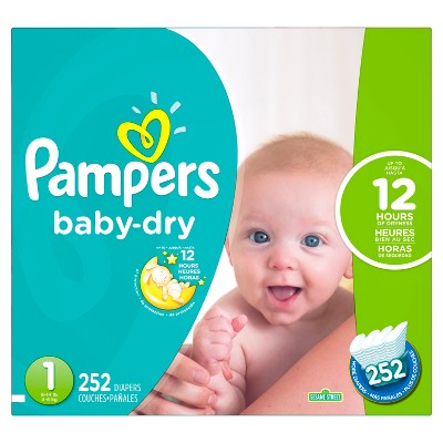 Pampers Baby Dry Diapers Economy Plus Pack Size 1 (252 ct)