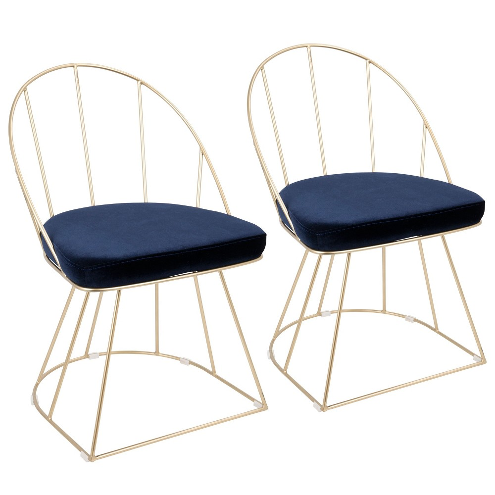 Set of 2 Lumisource Canary Contemporary Dining Accent Chair Blue