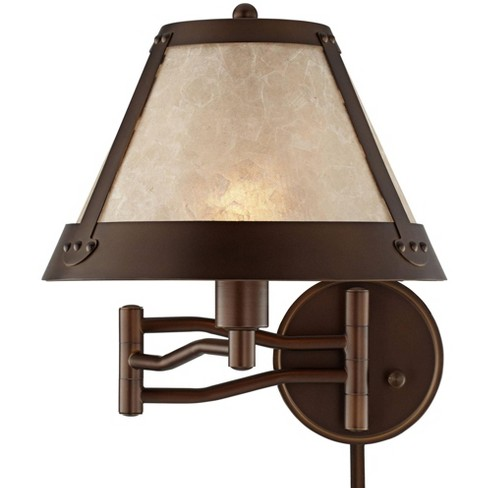 Franklin Iron Works Rustic Mission Swing Arm Wall Lamp Industrial Bronze Plug-In Light Fixture Natural Mica Shade Bedroom Bedside - image 1 of 4
