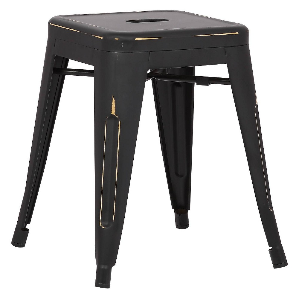 "Image of ""18"""" Franco Industrial Stool Distressed Black - Poly & Bark"""