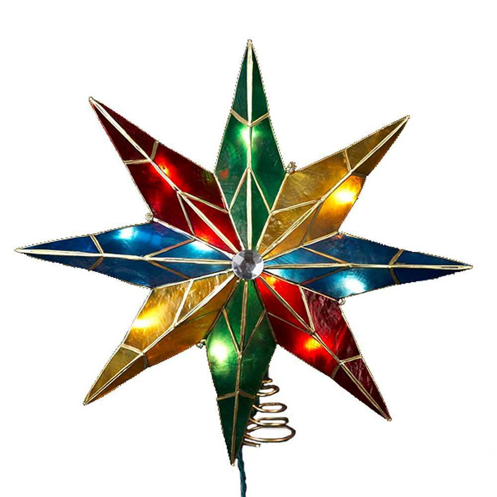 "Image of ""16.5"""" Kurt Adler 10 Light Capiz Multi Star Tree Topper"""