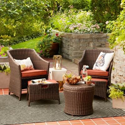 Belvedere 5pc All-Weather Wicker Patio Chat Set - Orange - Threshold™