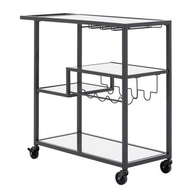 Estelle Step Tier Metal and Glass Bar Cart - Inspire Q