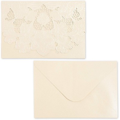 Paper Junkie 24-Pack Laser Cut Ivory Lace Invitations Cards with Envelopes for Wedding Bridal Shower, 7x5 in