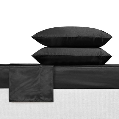 King Satin Solid Sheet Set Black - Betseyville