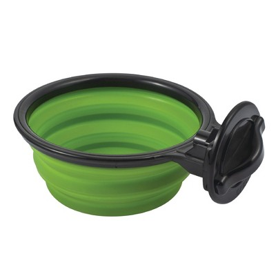 Hanging Crate Dog Bowl, Collapsible Silicone Water Food Feeder Bowl Cage Coop Cup for Cat Bird Pet, Green/Black