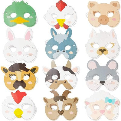 24-Pack Animal Party Paper Masks, Barnyard Farmhouse Theme for Kids Birthday Party Favors and Costume Dress Up, 12 Designs