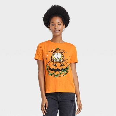 Women's Halloween Garfield Pumpkins Short Sleeve Graphic T-Shirt - Matte Orange