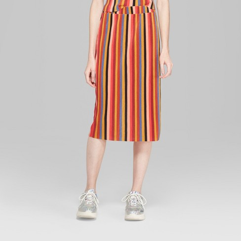 a466f851f562d5 Women's Striped Pleated Knit Midi Skirt - Wild Fable™ Yellow : Target