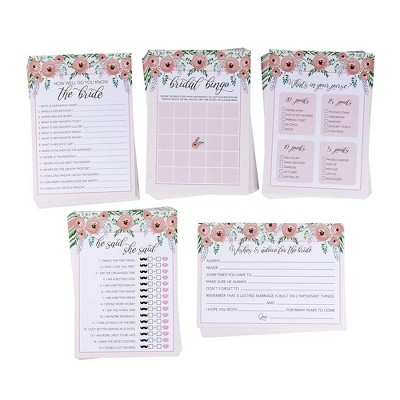 5-Set Bridal Shower Game Cards, Watercolor Floral Wedding Party Activity Supplies Including Bingo, He Said She Said, Marriage Advice, Up to 50 Guests