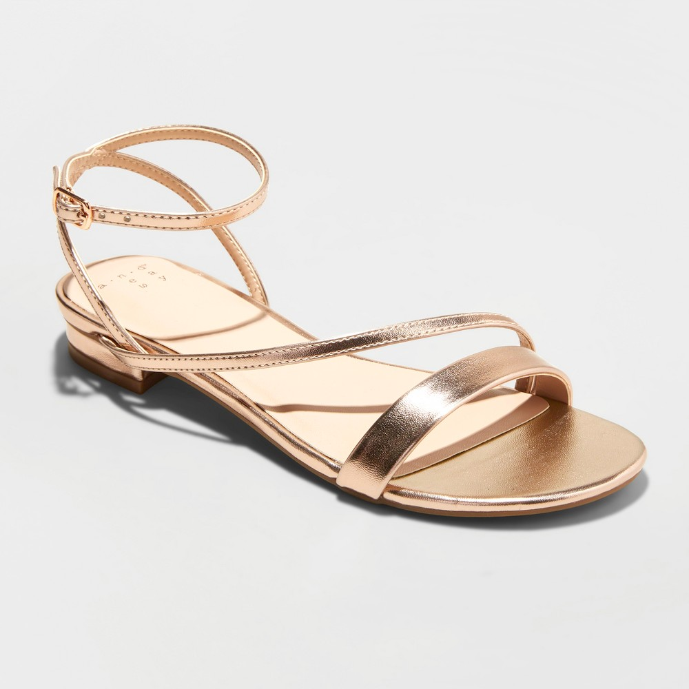 Women's Isma Barely There Ankle Strap Sandals - A New Day Rose Gold 7