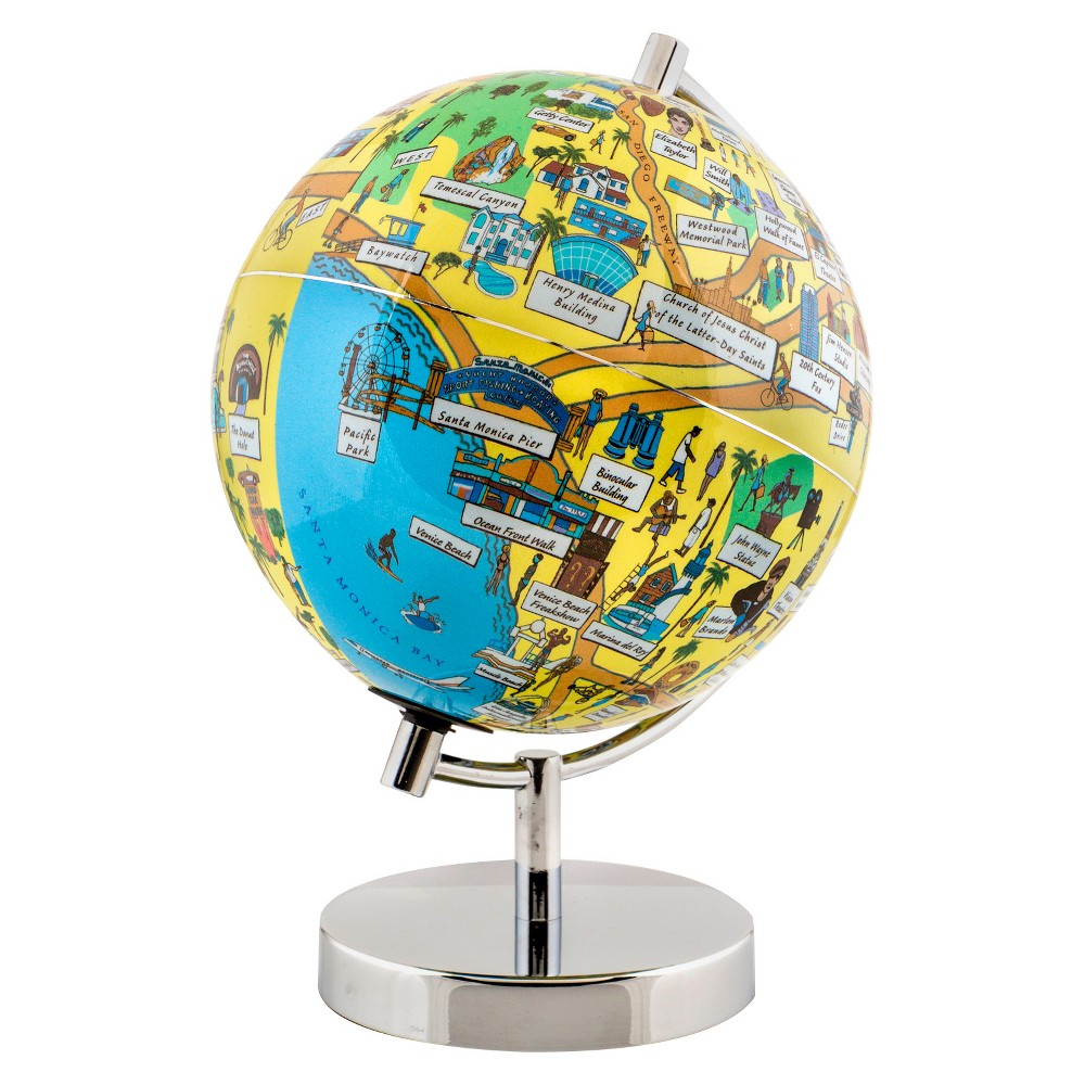 Globee Los Angeles 4 Illustrated Globe, Multi-Colored The Los Angeles globe comes mounted on a chrome silver stand. Each globe come with a 16 page booklet packed with interesting facts about the historic city and tourist sites depicted on the globe. The Los Angeles globe depicts all the major landmarks and tourist sites of the city as well as the major streets and some of the famous characters associated with it. Color: Multi-Colored. Age Group: Adult.