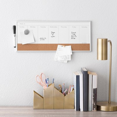 """Ubrands Magnetic Dry Erase Weekly Planner 7.5""""x18"""" White"""