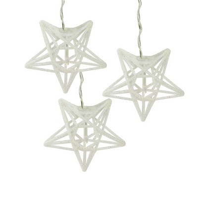 Penn 10 Battery Operated White and Clear Sparkling Glitter Star Christmas Lights - 6.6 ft Silver Wire