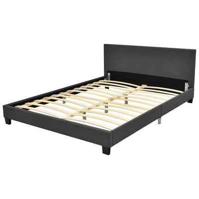 Costway Queen Upholstered Platform Bed Frame with Linen Headboard Wood Slat Gray\Black
