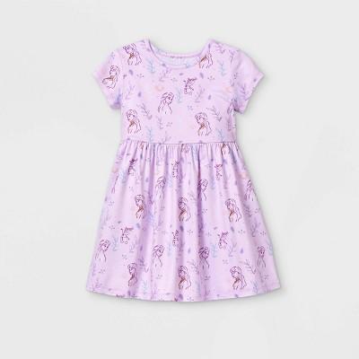 Toddler Girls' Disney Frozen Elsa and Anna Short Sleeve Knit Dress - Light Purple