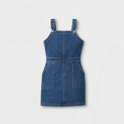 Girls' Denim Pinafore Dress - art class™ Medium Wash