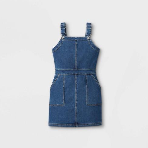 Girls' Denim Pinafore Dress - art class™ Medium Wash - image 1 of 2