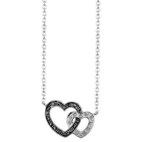 """Silver Plated Marcasite and Crystal Heart Pendant - 18.5"""" - image 1 of 1"""