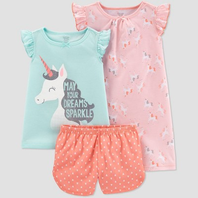 Toddler Girls' 3pc Poly Unicorn Pajama Set - Just One You® made by carter's Pink/Orange/Aqua 2T