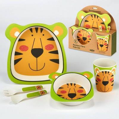 5pc Bamboo Kids Tiger Dinnerware Set Orange - Certified International