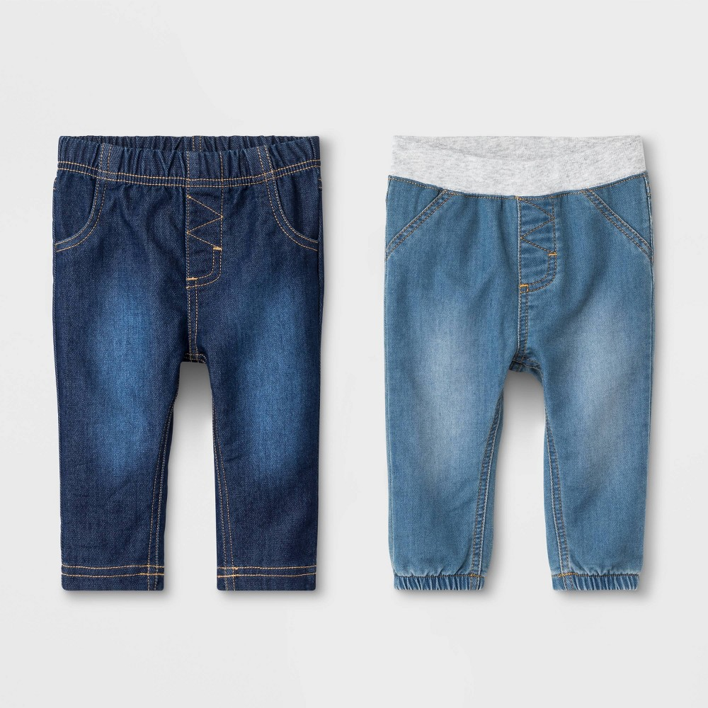 Image of Baby Boys' Cozy Stretch Denim Fletcher Wash Jeans - Cat & Jack 0-3M, Boy's, Blue