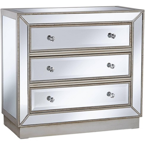 Coast To Coast Trevi 32 Wide 3 Drawer Silver Mirrored Accent Chest Target