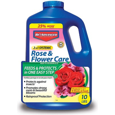 BioAdvanced 2 in 1 Systemic Rainproof Rose & Flower Care Insect Protection Granules and Fertilizer, Prevents Aphids and Lace Bugs, 10 lbs