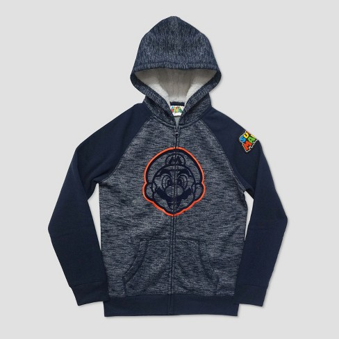14ff04f82 Boys  Super Mario Hooded Fleece Jacket - Navy   Target