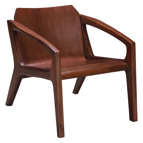 . Modern Curved Occasional Chair Chestnut   ZM Home