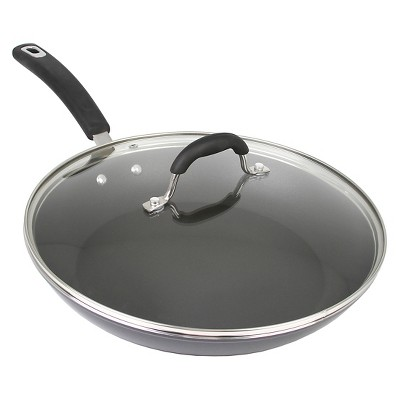 Oneida 12 Inch Covered Black Aluminum Fry Pan With A Non-Stick Interior And A Glass Lid