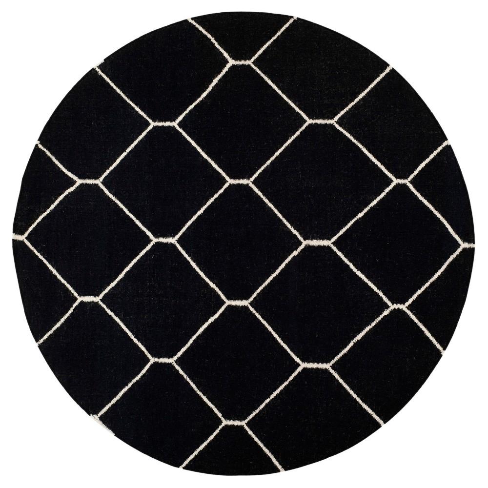 Dhurries Rug - Black/Ivory - (6'x6' Round) - Safavieh