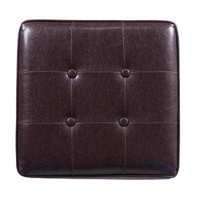 Gentil Square Tufted Faux Leather Storage Ottoman Brown   Homepop