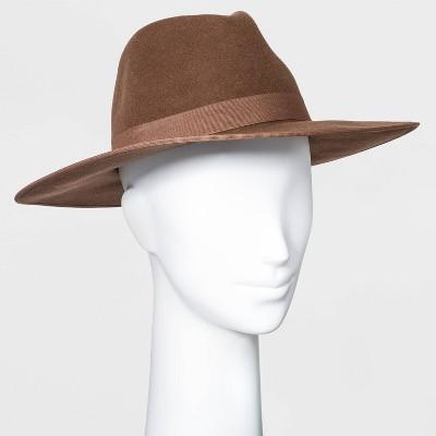 Women's Wide Brim Felt Fedora Hat - A New Day™ Brown
