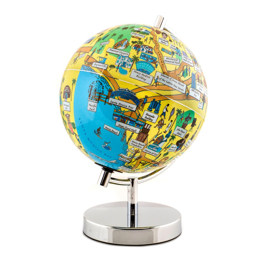 Globee Los Angeles 9 Illustrated Globe, Multi-Colored See Los Angeles at night in the form of an illuminated globe. The Los Angeles Night Light Globe is 9-inches in diameter and comes with a chrome silver stand. The globe depicts all the major landmarks and tourist sites of the city as well as the major streets and some of the famous characters associated with it and includes a 16 page informational booklet. Makes a wonderful gift or addition to any room. This globe is illuminated using Led lights within the globe and powered by Aaa batteries which are not included. You will never need to replace a light bulb! Color: Multi-Colored. Age Group: Adult.